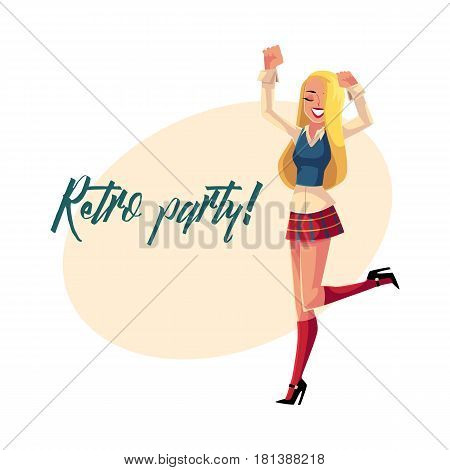 Retro disco party invitation, poster template, layout with woman in 1990s style clothes, checkered mini skirt, cartoon vector illustration. Nineties style disco party invitation banner poster template