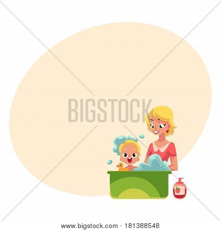 Young mother washing her baby, son, child in bathtub full of foam, cartoon vector illustration with space for text. Blond mother washing, bathing baby, child care concept