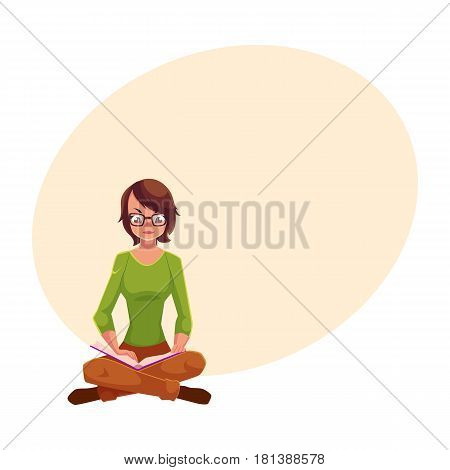 Full length portrait of girl, woman in glasses reading book while sitting with legs crossed, cartoon vector illustration with space for text. Girl, woman sitting legs crossed, reading book