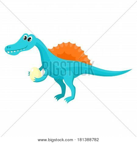 Cute and funny smiling baby spinosaurus, dinosaur, cartoon vector illustration isolated on white background. Funny, happy spinosaurus dinosaur character, decoration element