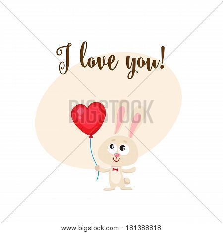 I love you greeting card, banner template with cute, funny rabbit holding red heart shaped balloon, cartoon vector illustration. Cute bunny holding heart balloon, love postcard, greeting card, banner