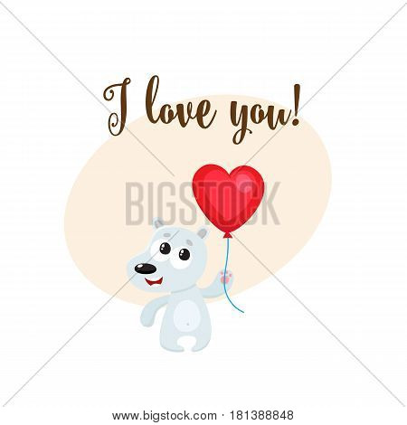 I love you greeting card, banner template with funny white bear holding red heart shaped balloon, cartoon vector illustration. Cute bear holding heart balloon, love postcard, greeting card, banner