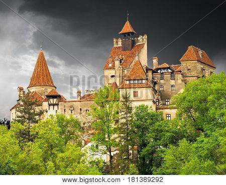Beautiful and old architecture of the famous Dracula castle in Bran town. Medieval and ancient building of Transylvania in Europe Romania