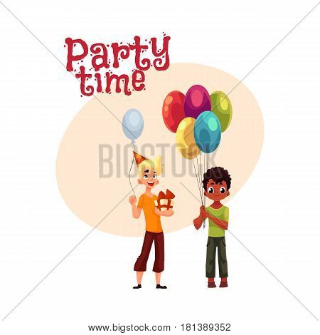Black little boy with balloons, Caucasian teenager holding birthday gift, cartoon style invitation, banner, poster, greeting card design. Party invitation, advertisement, Two kids holding balloons