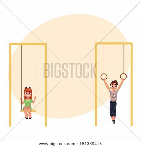 Kids, children at playground, hanging on gymnastic rings and swinging on swings, cartoon vector illustration with place for text. Boy and girl having fun at playground