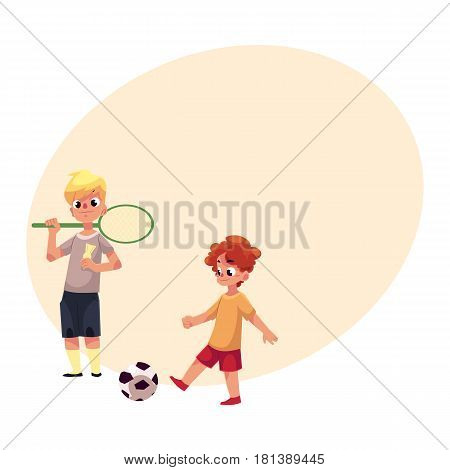 Two boys playing badminton and football at the playground, cartoon vector illustrationwith space for text. Boy friends playing with badminton racket, birdie, football ball at the playground