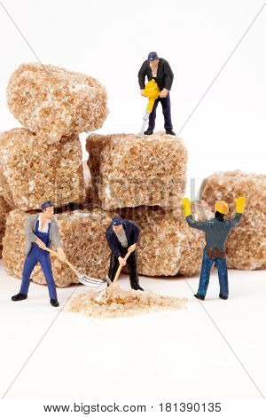 Miniature people: Workers reduce blocks of brown sugar in  powdered sugar.