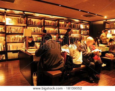 readers in a bookstore in Taipei