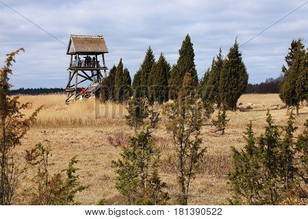 Kaņiera lakes bird watching tower in Latvia