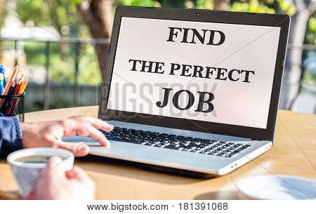 Find The Perfect Job Concept On Laptop Screen Outdoors