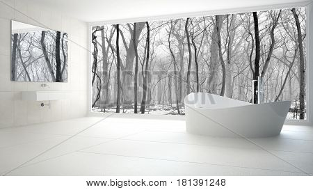 Minimalist white and gray bathroom with big panoramic window winter wood in the background, 3d llustration