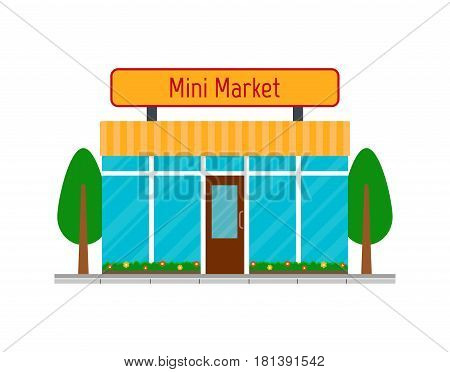 Mini market building icon. EPS10 vector illustration in flat style.