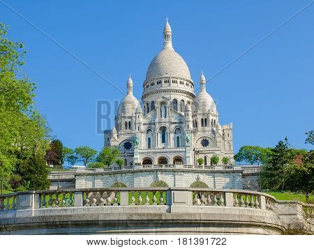 South facade of the Basilica of the Sacred Heart in Paris in the springtime