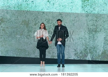 ZAGREB, CROATIA - APRIL 1, 2017: Fashion designers Marija Piric and Jurica Piric under fashion name Arileo at the 'Fashion.hr' fashion show