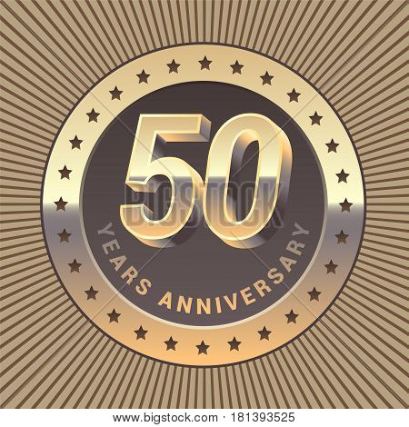50 years anniversary vector icon logo. Graphic design element or emblem as a golden medal for 50th anniversary