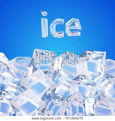 Vector illustration made with gradient mesh.Background with ice cubes