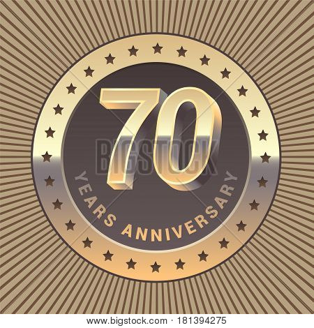 70 years anniversary vector icon logo. Graphic design element or emblem as a golden medal for 70th anniversary