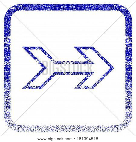 Arrow Right textured icon for overlay watermark stamps. Blue vectorized texture. Flat vector symbol with unclean design inside rounded square frame. Framed blue rubber seal stamp imitation.