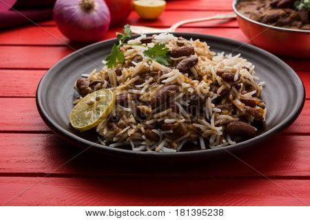 kidney bean curry or rajma or rajmah chawal and roti, typical north indian main course, selective focus