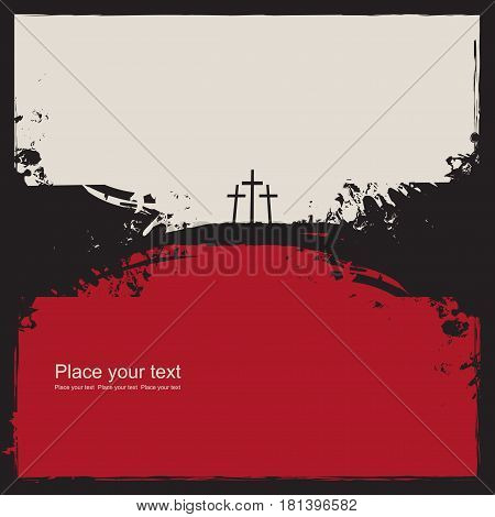 Mount Calvary with three crosses on abstract grunge background