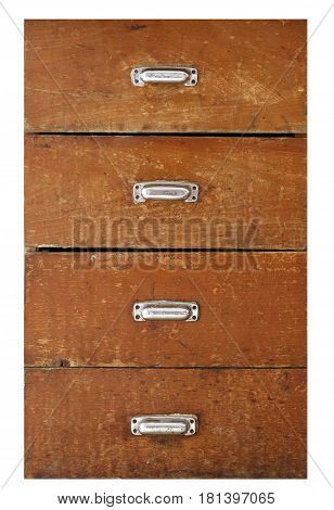 Detail of the old drawer isolated on white background