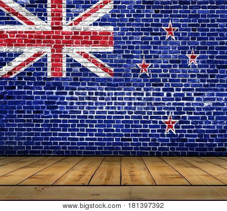 New Zeland flag painted on brick wall with wooden floor