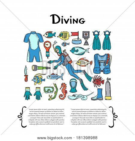 Cover with hand drawn colored symbols of diving on white background. Set on the theme of outfit sea travel and recreation. Vector background for use in design