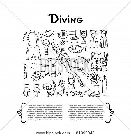 Cover with hand drawn isolated symbols of diving on white background. Set on the theme of outfit sea travel and recreation. Vector background for use in design