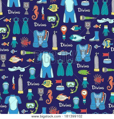 Vector seamless pattern with hand drawn colored symbols of diving on blue color. Pattern on the theme of summer travel and hobby. Background for use in design
