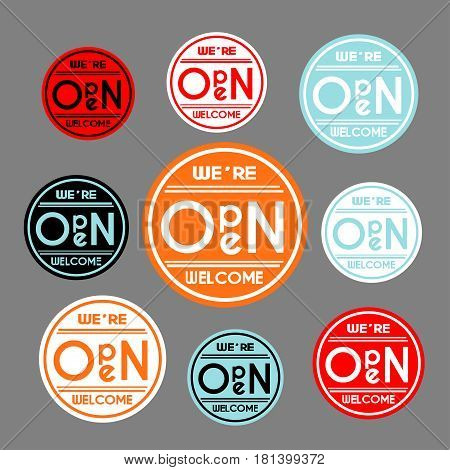 Set of nine colorful images with text We're open, welcome on a grey background. Vector illustration.