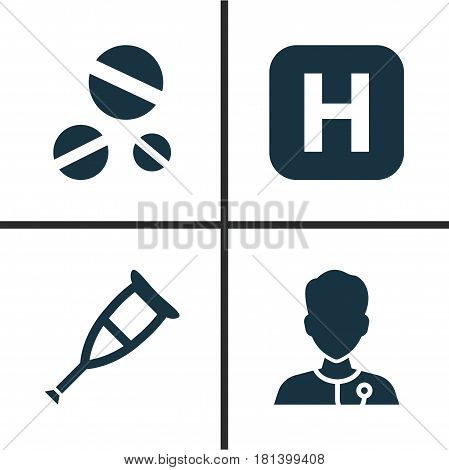 Drug Icons Set. Collection Of Hospital, Cure, Healer And Other Elements. Also Includes Symbols Such As Pill, Medicine, Crutch.