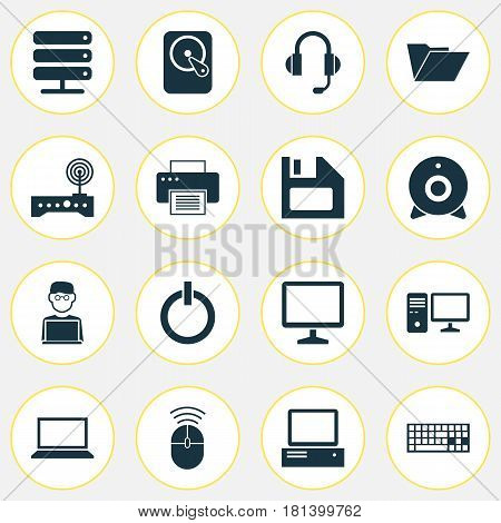 Computer Icons Set. Collection Of Power On, Desktop, Database And Other Elements. Also Includes Symbols Such As Server, Machine, Computer.