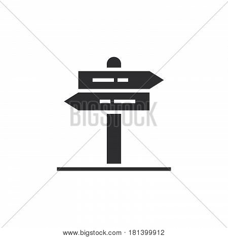 Signpost Icon Vector, Pointer Solid Logo, Pictogram Of A Guidepost Isolated On White, Pixel Perfect