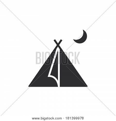 Tourist Tent Icon Vector, Solid Logo, Shelter Pictogram Isolated On White, Pixel Perfect Illustratio
