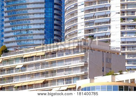 residential flats on the french riviera with window awning