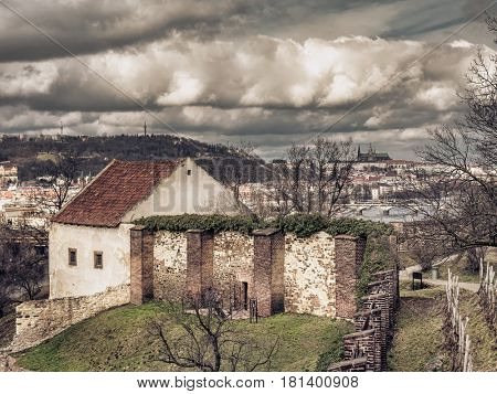 The ruin of Libuse's Baths on Vysehrad cliffs, abive Vltava river, Prague Czech Republic