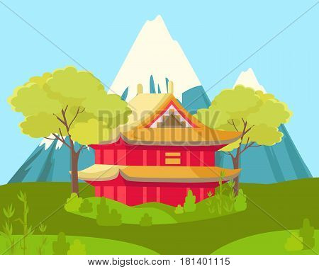 Chinese two-storey house in traditional style beside trees and on grass near snowy mountains on blue sky background. Chinese cartoon landscape picture. Vector illustration of building and nature.