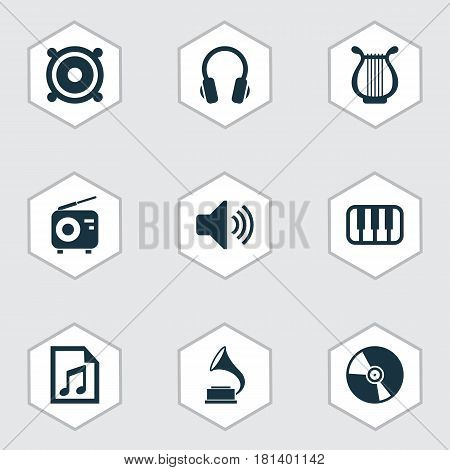 Audio Icons Set. Collection Of Tuner, Phonograph, Sound And Other Elements. Also Includes Symbols Such As Octave, Radio, Gramophone.