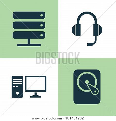 Laptop Icons Set. Collection Of Hdd, Earphone, Database And Other Elements. Also Includes Symbols Such As PC, Hard, Earphone.
