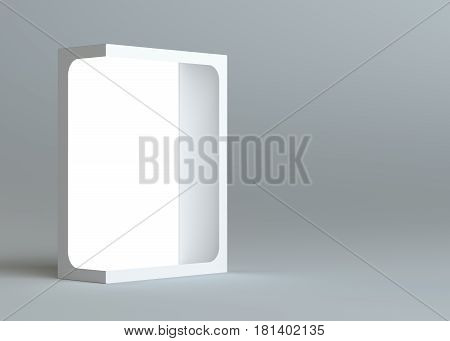 A realistic white empty packaging cardboard box for products - cosmetics, electronics, food, books and more. Gray background. 3d illustration