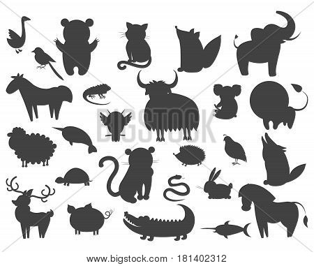 Set of cartoon animal pets icons isolated. Vector illustration silhouettes of guana and turtle, horse and owl, curly sheep, prickly hedgehog, magpie, large xiphias, whitey goose, crocodile with rabbit