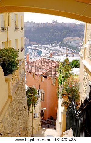 Part of Monaco marina area seen high up from the old town