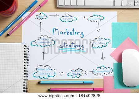 Paper sheet with text MARKETING STRATEGY on table
