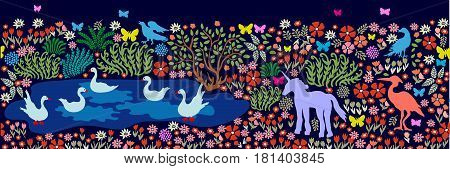 Seamless pattern for wall painting and frescos. Fantasy birds and animals in dark forest. Deer, flamingos, herons, cranes, ducks, swans, blooming floral carpet.