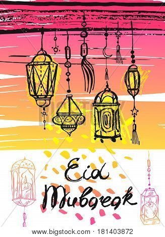 Eid Mubarak lettering, hand draw abstract greeting background.Eid background, eid greetings card, eid card, shiny lamps, eid celebration, eid al adha.Holiday, muslim community festival greeting card template