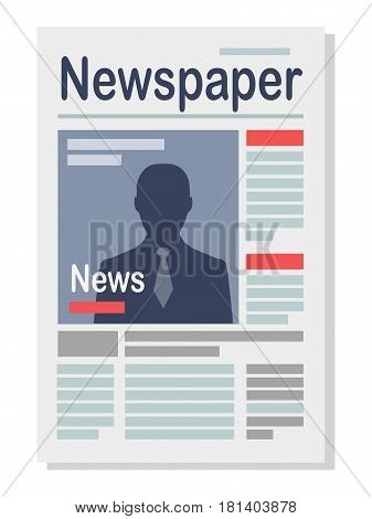 Business newspaper with news isolated icon in flat design on white. Vector illustration of daily or weekly published edition with fresh news in columns on pages and big human portrait on cover.