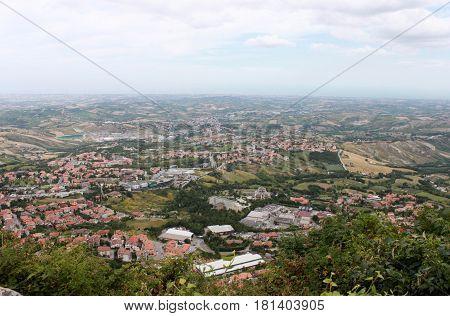 San Marino. Town on blue sky background horizontal view