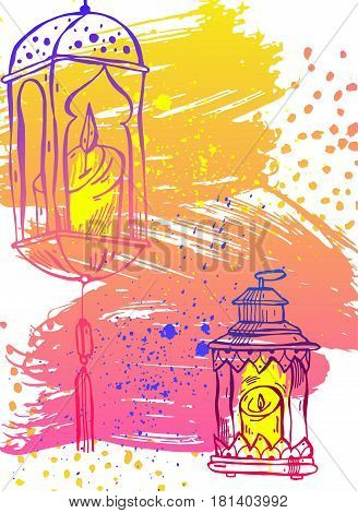 Hand draw Ramadan Kareem letteringlatern and Lamp greeting card.Ramadan Kareem vector background.Card template for ramadan holidayramadan celebrationramadan muslimramadan festivalramadan greeting