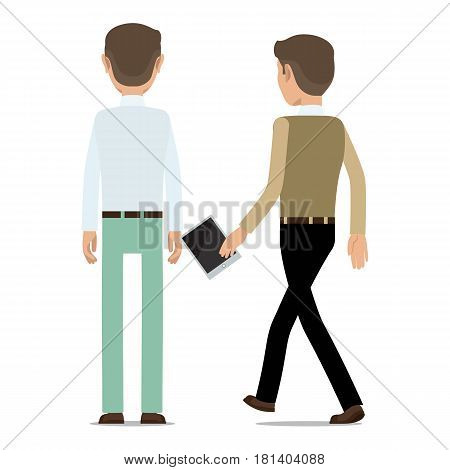 Man character in business casual standing backwards and walking with tablet in hand flat vector illustration isolated on white background. Office worker backward icon for business concept design
