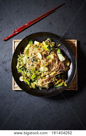 Chow Mein Noodles with Green Vegetables